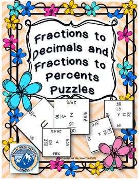 Decimal,Percent and Fraction Puzzle Set