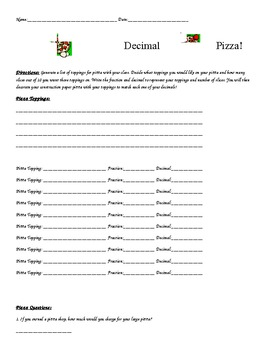 Decimal Pizza Activity
