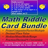 Decimal Place Value/ Median-Mean/ Prime/ Fraction-Percent Riddle Card Bundle