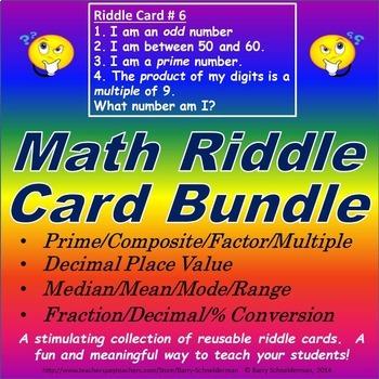 Decimal Place Value/ Median-Mean/ Prime/ Fraction-Percent Riddle Card Bundle