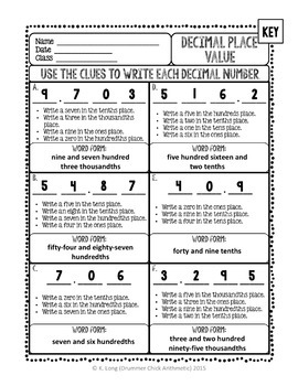 Decimal Place Value 2 - Three Practice Pages