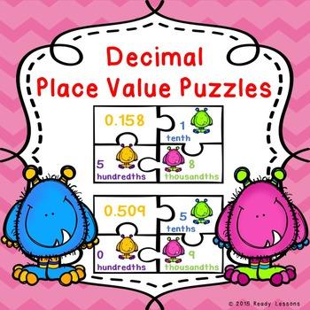 Decimal Place Value Decimal Game Puzzles 5.NBT.3