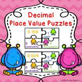 Math Center 5th Grade Place Value Decimal -Place Value Activity Puzzles 5.NBT.3