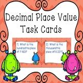 5th Grade Decimals Place Value Task Cards Decimal Places Values Activity 5.NBT.3