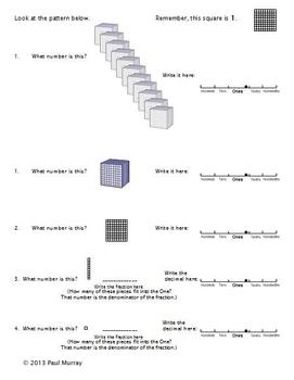 Decimal Place Value:  An Introduction using Base 10 Blocks (Tenths & Hundredths)