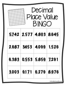 Decimal Place Value BINGO