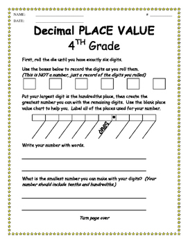 Decimal Place Value Center