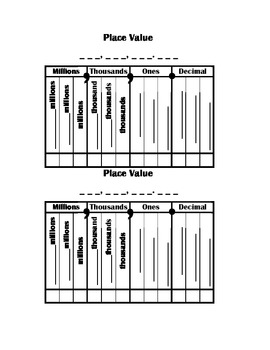 Decimal Place Value Chart (2 on apage)
