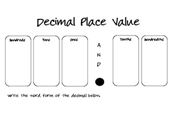 Decimal Place Value Chart (Read and Write)