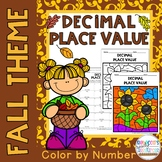 Decimal Place Value: Color by Number-Fall Theme