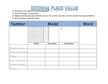 Decimal Place Value Dice Activity