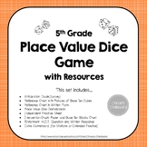 Decimal Place Value Dice Game and Activities Set NO PREP