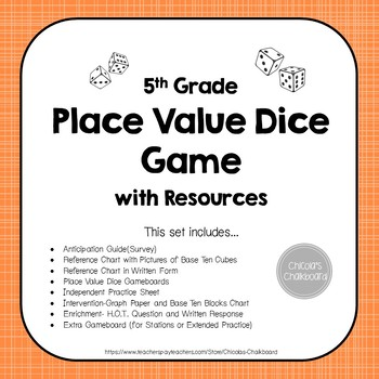 Decimal Place Value Game - Dice Game and Activities Set NO PREP