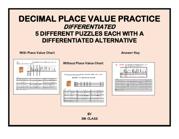 Decimal Place Value Differentiated Practice with Math Jokes