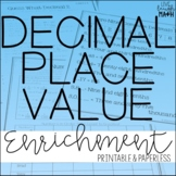 Decimal Place Value Enrichment: Decimal Logic Puzzles