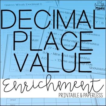 Decimal Place Value Enrichment: Decimal Logic Puzzles