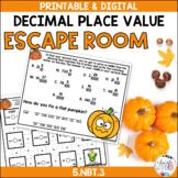 Decimal Place Value FALL PUMPKIN ESCAPE ROOM