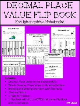 Decimal Place Value Flipbook for Interactive Notebooks