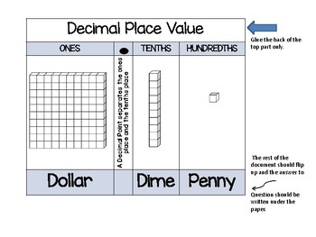 Decimal Place Value Foldable with Cut and Paste Coloring Activity