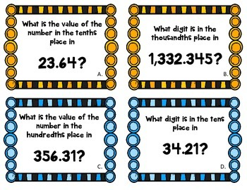 Decimal Place Value Football Game