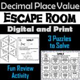 Decimal Place Value Game: Escape Room Math