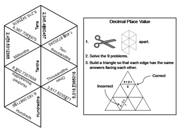 Decimal Place Value Game: Math Tarsia Puzzle