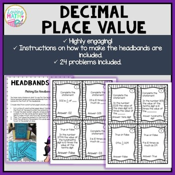 Decimal Place Value - Headbands Game