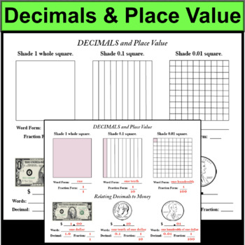 Decimal Place Value Interactive Notes Notepage with Key