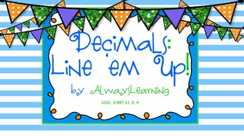 Decimal Place Value Lineup - Activity to Compare, Order, and Convert Decimals