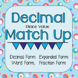 Decimal Place Value Match Up - Thousandths