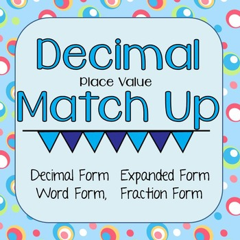 Decimal Place Value Match Up - Thousandths