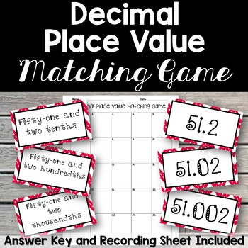 Decimal Place Value Matching Game