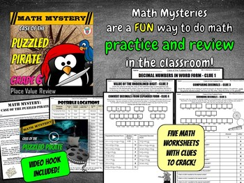 Decimal Place Value Math Mystery Activity: Case of The Puzzled Pirate (Grade 6)