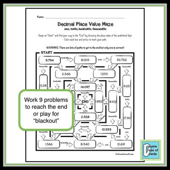 Decimal Place Value Maze