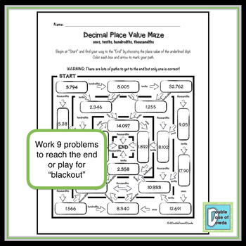 Decimal Place Value Worksheet