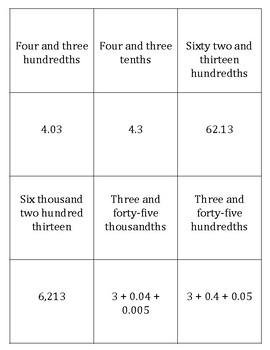 Decimal Place Value Memory Game 5.NBT.3a