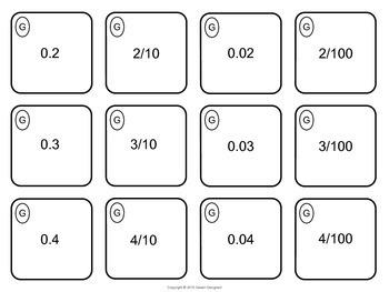 Decimal Place Value Memory Match 5th Grade Common Core