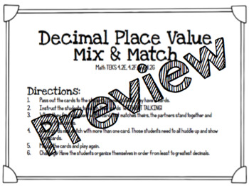 Decimal Place Value Mix and Match
