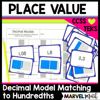 Decimal Place Value Model Cards for Matching, Memory or Go Fish by Marvel Math