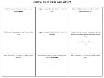 Decimal Place Value Models