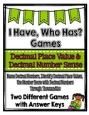 Decimal Place Value & Number Sense Games: I Have, Who Has