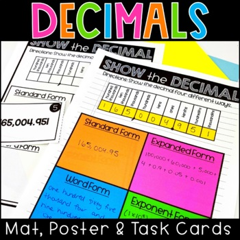 Decimal Place Value Poster, Work Mat and Task Cards Math Center 5.NBT.A.3