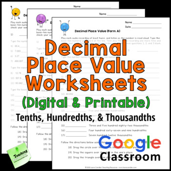Decimal Place Value Worksheets Tenths Hundredths And Thousandths