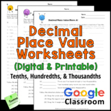 Decimal Place Value Worksheets (Tenths, Hundredths, and Th