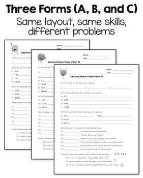 Decimal Place Value Printables (CCSS 5th Grade)