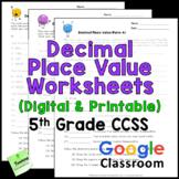 Decimal Place Value Worksheets (CCSS 5th Grade)