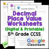 Decimal Place Value Worksheets - CCSS 5th Grade - Printabl
