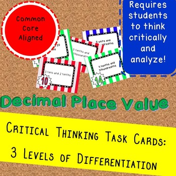 Decimal Place Value Puzzles: Differenentiated Task Cards 54 Card set