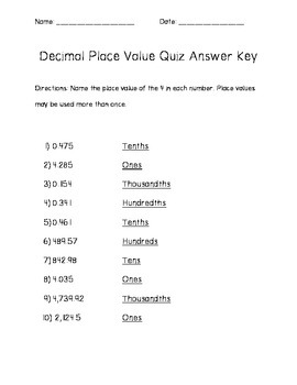 Decimal Place Value Quiz and Answer Key 10 Questions