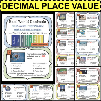 Decimal Place Value Real World Task Cards Rounding